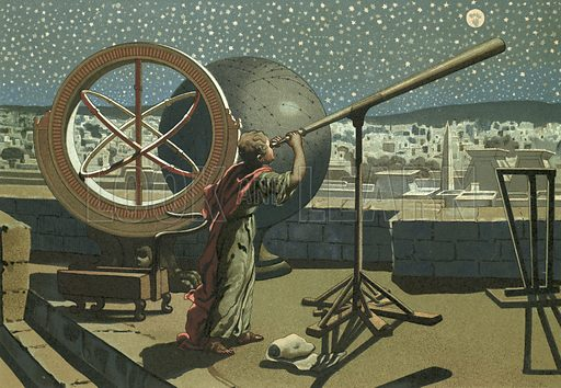 Hipparchus in the observatory in Alexandria.  Illustration for La Ciencia Y Sus Hombres by Luis Figuier (D Jaime Seix, 1876).  Large chromolithograph.