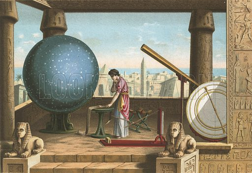 Ptolemy in the observatory in Alexandria.  Illustration for La Ciencia Y Sus Hombres by Luis Figuier (D Jaime Seix, 1876).  Large chromolithograph.