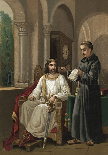 Charlemagne and Alcuin.  Illustration for La Ciencia Y Sus Hombres by Luis Figuier (D Jaime Seix, 1876).  Large chromolithograph.