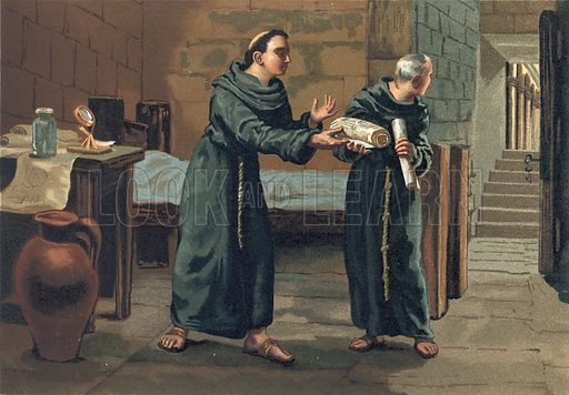 Roger Bacon sending his Magnum Opus to the Pope.  Illustration for La Ciencia Y Sus Hombres by Luis Figuier (D Jaime Seix, 1876).  Large chromolithograph.