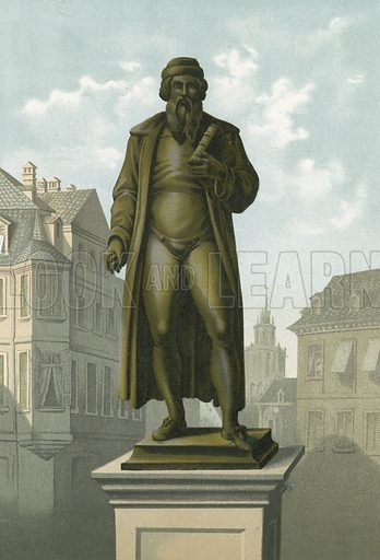 Statue of Gutenberg in Mainz.  Illustration for La Ciencia Y Sus Hombres by Luis Figuier (D Jaime Seix, 1876).  Large chromolithograph.