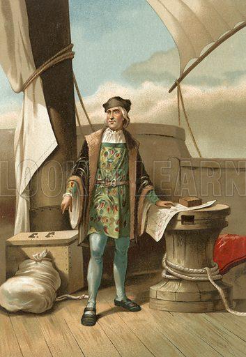 Christopher Columbus.  Illustration for La Ciencia Y Sus Hombres by Luis Figuier (D Jaime Seix, 1876).  Large chromolithograph.