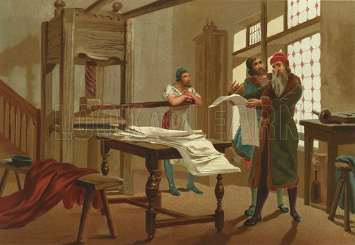 Gutenberg prints the first page of the Bible