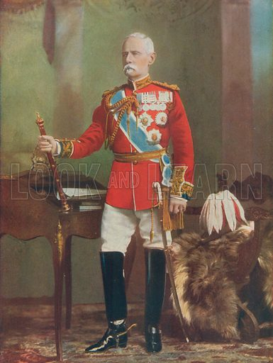 Field-Marshal Lord Roberts. Field-Marshal Commanding-in-Chief the Forces in South Africa. Illustration for Celebrities of the Army edited by Charles Robinson (George Newnes, 1900).