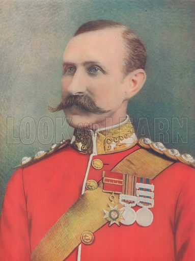 The Late Major-General Sir W Penn Symons. Mortally Wounded at Talana Hill, South Africa. Illustration for Celebrities of the Army edited by Charles Robinson (George Newnes, 1900).