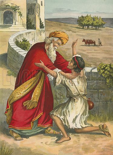 The Prodigal's Return.  Illustration for Brought to Jesus by G E Morton (S W Partridge, c 1880).
