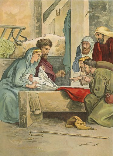 The birth of Christ.  Illustration for Brought to Jesus by G E Morton (S W Partridge, c 1880).