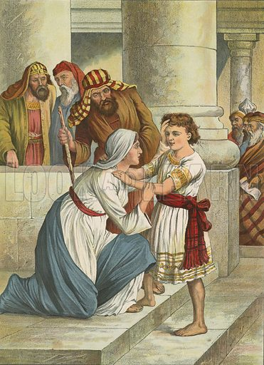 Jesus in the Temple. Illustration for Brought to Jesus by G E Morton (S W Partridge, c 1880).