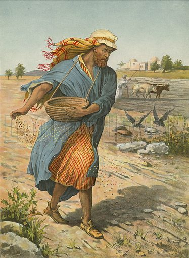 The Sower Sowing the Seed. Illustration for Brought to Jesus by G E Morton (S W Partridge, c 1880).