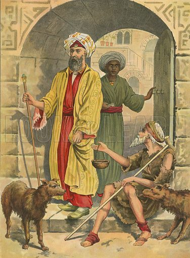 The Rich Man and Lazarus. Illustration for Brought to Jesus by G E Morton (S W Partridge, c 1880).