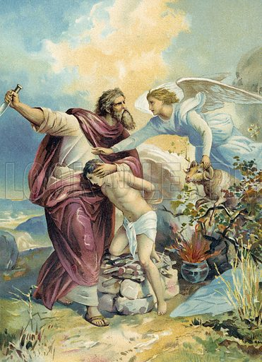 Abraham about to sacrifice Isaac.  German chromolithograph.