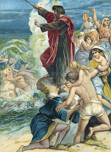 Moses crossing the Red Sea.  German chromolithograph.