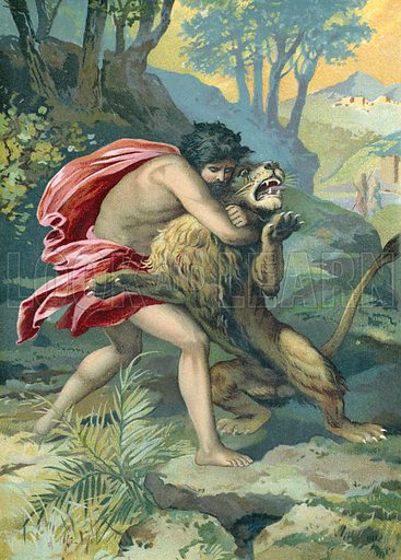 Samson and the lion.  German chromolithograph.