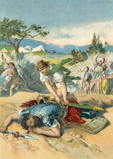 David and Goliath.  German chromolithograph.