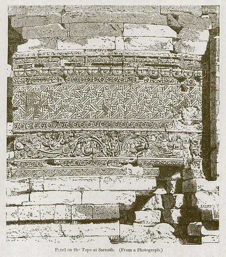 Panel on the Tope at Sarnath. Illustration for History of Indian and Eastern Architecture by James Fergusson (John Murray, 1876).