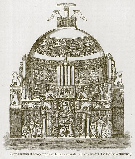 Representation of a Tope from the Rail a Amravati. Illustration for History of Indian and Eastern Architecture by James Fergusson (John Murray, 1876).