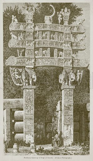 Northern Gateway of Tope at Sanchi. Illustration for History of Indian and Eastern Architecture by James Fergusson (John Murray, 1876).