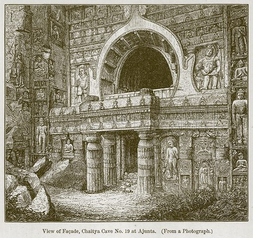 View of Facade, Chaitya Cave No 19 at Ajunta. Illustration for History of Indian and Eastern Architecture by James Fergusson (John Murray, 1876).