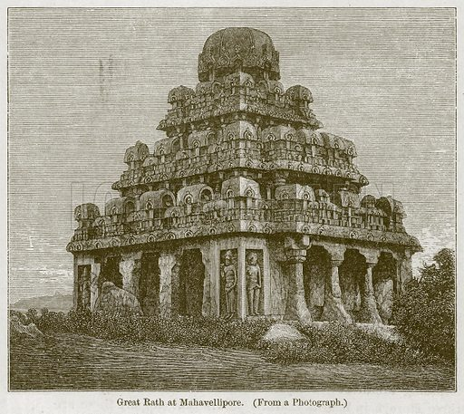 Great Rath at Mahavellipore. Illustration for History of Indian and Eastern Architecture by James Fergusson (John Murray, 1876).
