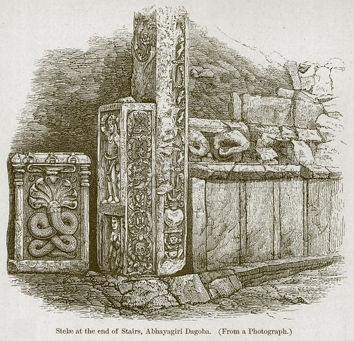 Stelae at the End of Stairs, Abhayagiri Dagoba. Illustration for History of Indian and Eastern Architecture by James Fergusson (John Murray, 1876).