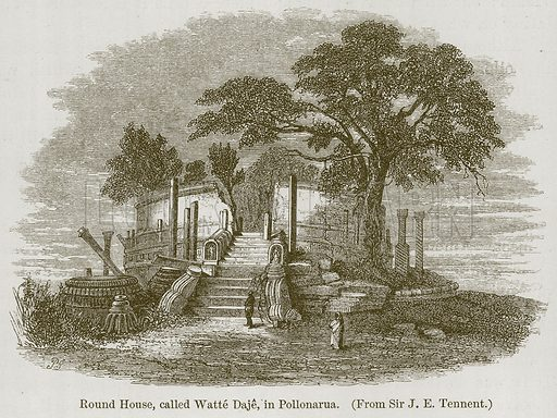 Round House, Called Watte Daje, in Pollonarua. Illustration for History of Indian and Eastern Architecture by James Fergusson (John Murray, 1876).