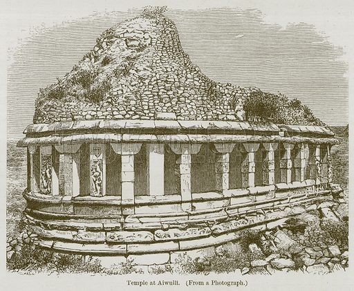 Temple at Aiwulli. Illustration for History of Indian and Eastern Architecture by James Fergusson (John Murray, 1876).
