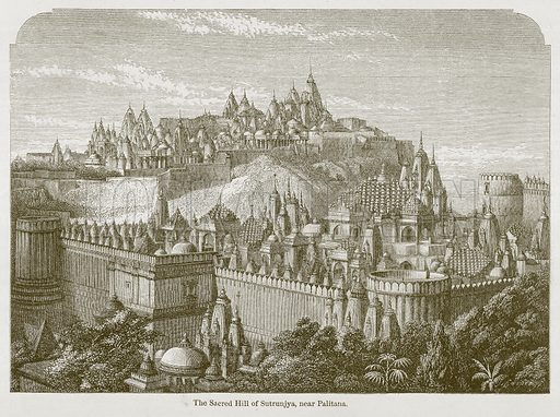 The Sacred Hill of Sutrunjya, near Palitana. Illustration for History of Indian and Eastern Architecture by James Fergusson (John Murray, 1876).