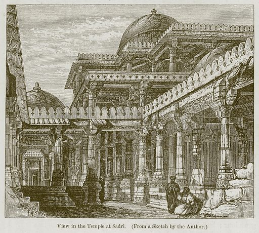 View in the Temple at Sadri. Illustration for History of Indian and Eastern Architecture by James Fergusson (John Murray, 1876).