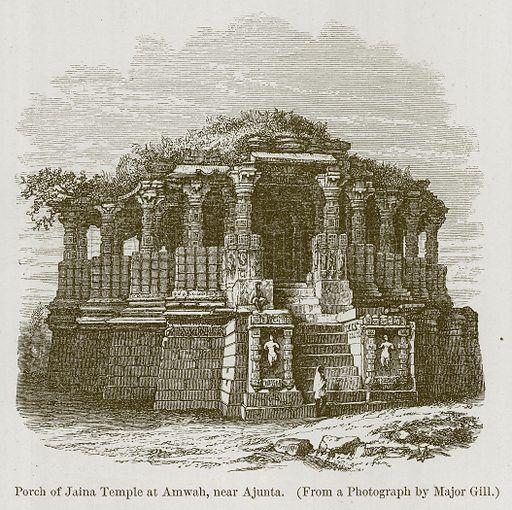 Porch of Jaina Temple at Amwah, near Ajunta. Illustration for History of Indian and Eastern Architecture by James Fergusson (John Murray, 1876).
