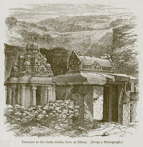 Entrance to the Indra Subha Cave at Ellora. Illustration for History of Indian and Eastern Architecture by James Fergusson (John Murray, 1876).