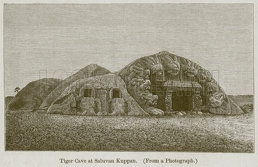 Tiger Cave at Saluvan Kuppan. Illustration for History of Indian and Eastern Architecture by James Fergusson (John Murray, 1876).