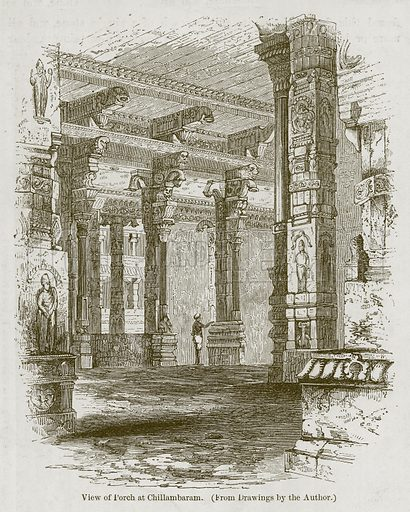 View of Porch at Chillambaram. Illustration for History of Indian and Eastern Architecture by James Fergusson (John Murray, 1876).