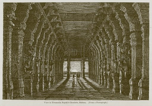 View in Tirumulla Nayak's Choultrie, Madura. Illustration for History of Indian and Eastern Architecture by James Fergusson (John Murray, 1876).