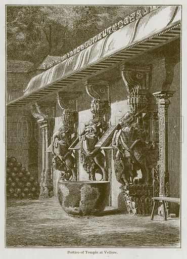 Portico of Temple at Vellore. Illustration for History of Indian and Eastern Architecture by James Fergusson (John Murray, 1876).