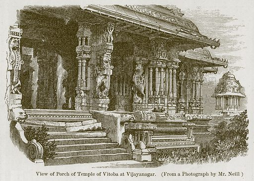 View of Porch of Temple of Vitoba at Vijayanagar. Illustration for History of Indian and Eastern Architecture by James Fergusson (John Murray, 1876).