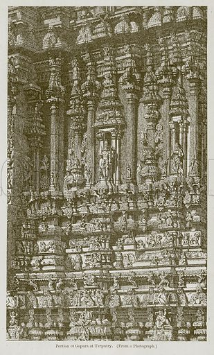 Portion of Gopura at Tarputry. Illustration for History of Indian and Eastern Architecture by James Fergusson (John Murray, 1876).