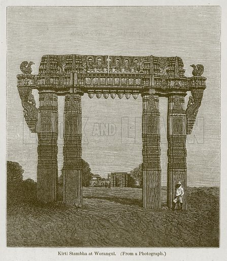 Kirti Stambha at Worangul. Illustration for History of Indian and Eastern Architecture by James Fergusson (John Murray, 1876).