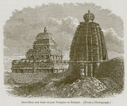 Dravidian and Indo-Aryan Temples at Badami. Illustration for History of Indian and Eastern Architecture by James Fergusson (John Murray, 1876).