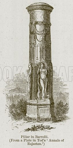 Pillar in Barrolli. Illustration for History of Indian and Eastern Architecture by James Fergusson (John Murray, 1876).