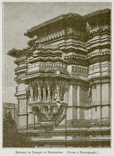 Balcony in Temple at Bindrabun. Illustration for History of Indian and Eastern Architecture by James Fergusson (John Murray, 1876).