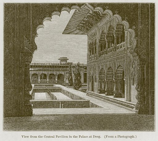 View from the Central Pavilion in the Palace at Deeg. Illustration for History of Indian and Eastern Architecture by James Fergusson (John Murray, 1876).