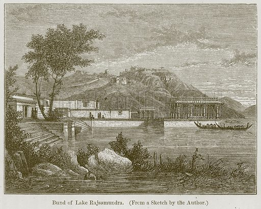 Bund of Lake Rajsamundra. Illustration for History of Indian and Eastern Architecture by James Fergusson (John Murray, 1876).