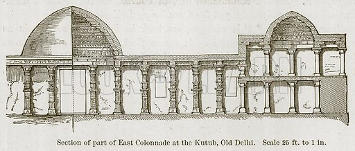Section of Part of East Colonnade at the Kutub, Old Delhi. Illustration for History of Indian and Eastern Architecture by James Fergusson (John Murray, 1876).
