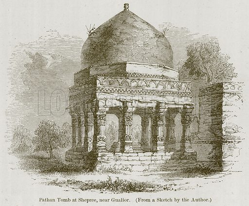 Pathan Tomb at Shepree, near Gualior. Illustration for History of Indian and Eastern Architecture by James Fergusson (John Murray, 1876).