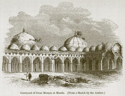 Courtyard of Great Mosque at Mandu. Illustration for History of Indian and Eastern Architecture by James Fergusson (John Murray, 1876).