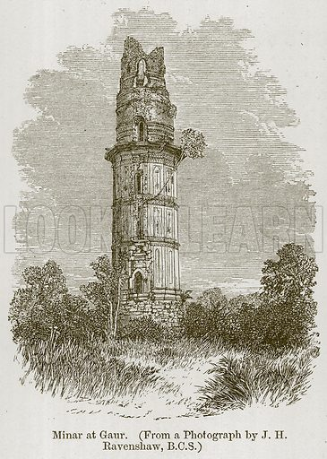 Minar at Gaur. Illustration for History of Indian and Eastern Architecture by James Fergusson (John Murray, 1876).