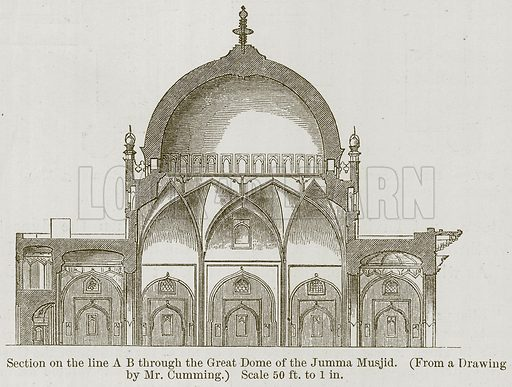 Section on the Line AB through the Great Dome of the Jumma Musjid. Illustration for History of Indian and Eastern Architecture by James Fergusson (John Murray, 1876).