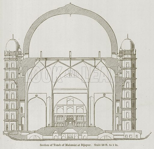 Section of Tomb of Mahmud at Bijapur. Illustration for History of Indian and Eastern Architecture by James Fergusson (John Murray, 1876).