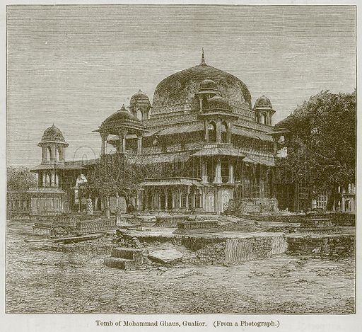 Tomb of Mohammad Ghaus, Gualior. Illustration for History of Indian and Eastern Architecture by James Fergusson (John Murray, 1876).
