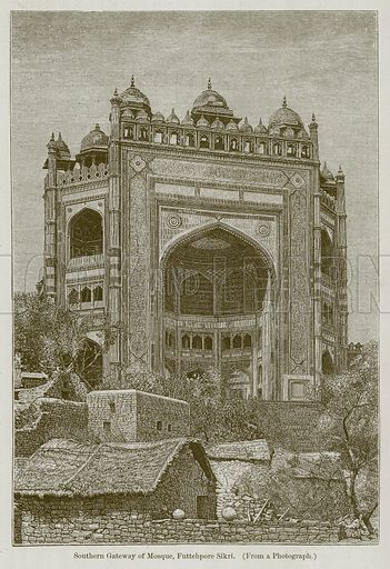 Southern Gateway of Mosque, Futtehpore Sikri. Illustration for History of Indian and Eastern Architecture by James Fergusson (John Murray, 1876).